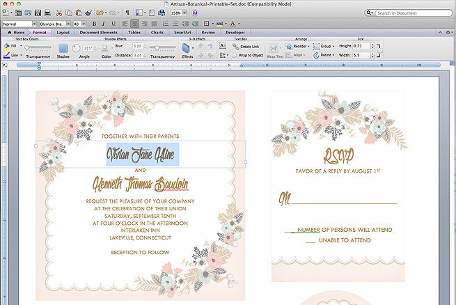 Free delicate floral printable wedding invitation suite