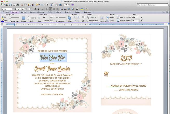 Invitation O7 Printable Wedding Suite Spring Wedding RSVP Modern Floral | Modern