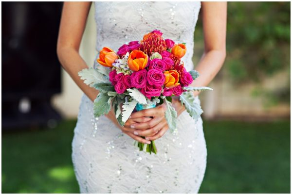 orange and pink bouquet