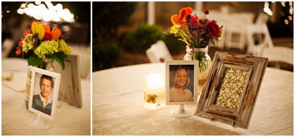childhood photos as table decor for wedding