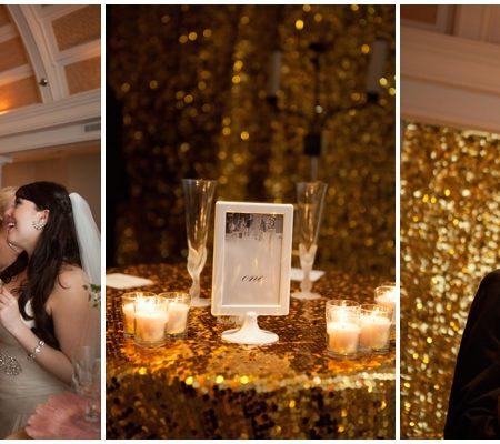 gold glitter wedding details