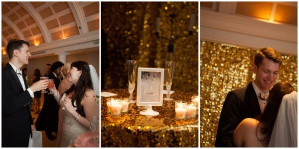 gold glitter wedding details