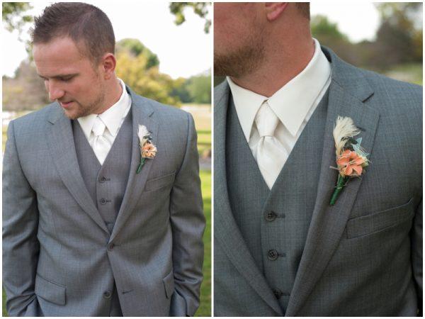 grey groom's suit