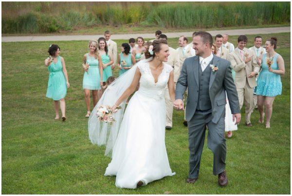 mint wedding party