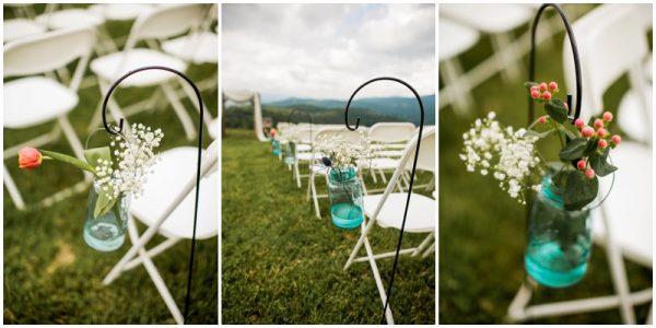 mint wedding ceremony setup