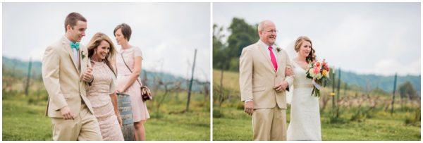mint wedding walk down the aisle