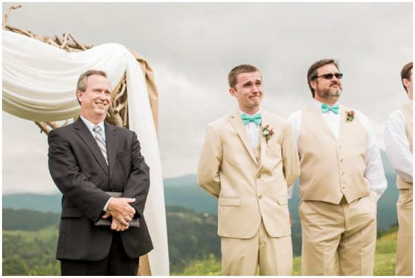 mint wedding sweet groom reaction