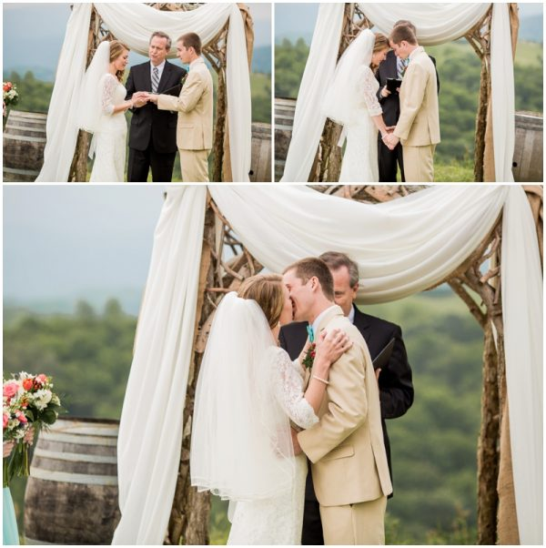 mint wedding vows and first kiss!