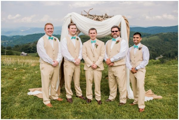 mint wedding groomsmen in khaki