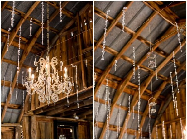 chandelier and sparkles in a barn