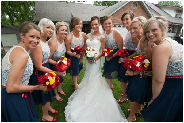 navy and lace bridesmaids dresses