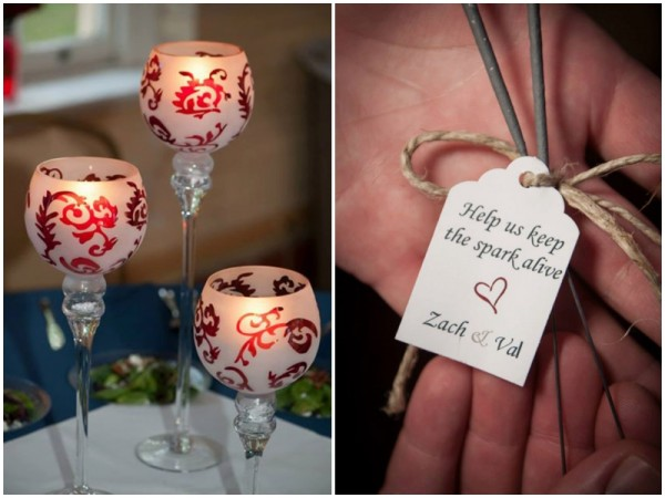 red and white wedding details