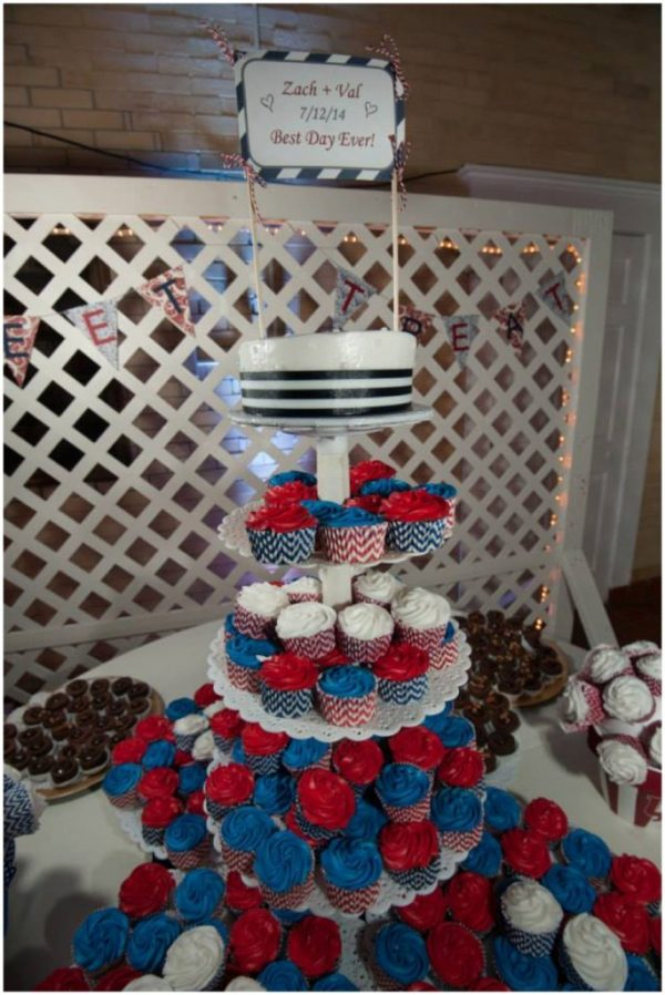 red and blue wedding cupcakes