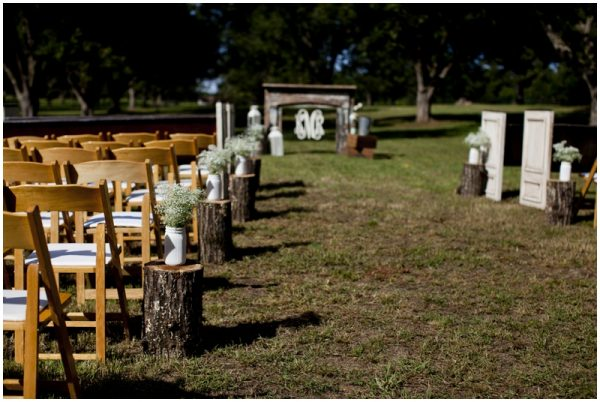 rustic wedding babys breath aisle decor