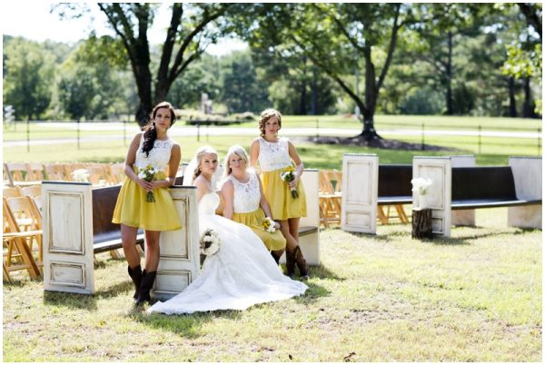 yellow bridesmaids dresses rustic wedding