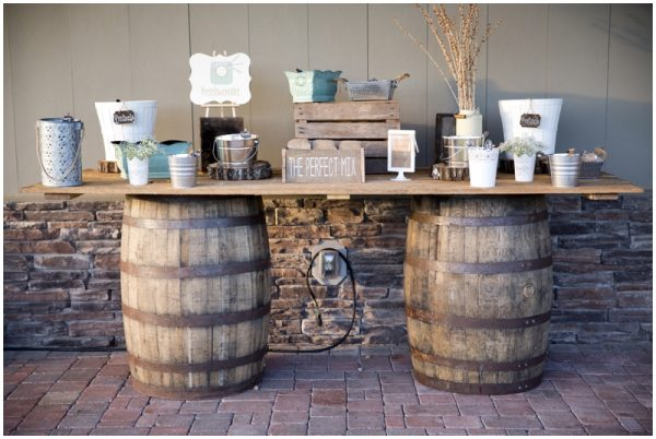 trail mix favor station rustic wedding