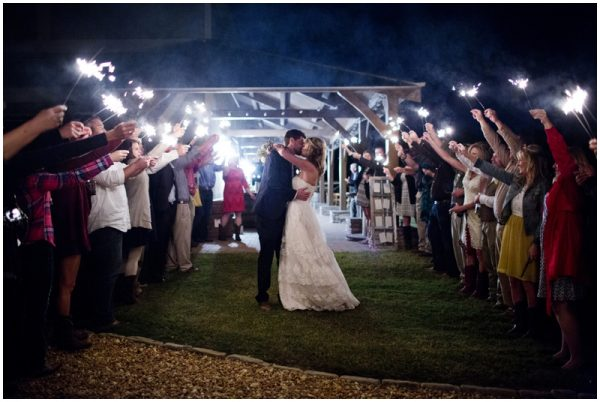 sparklers rustic wedding