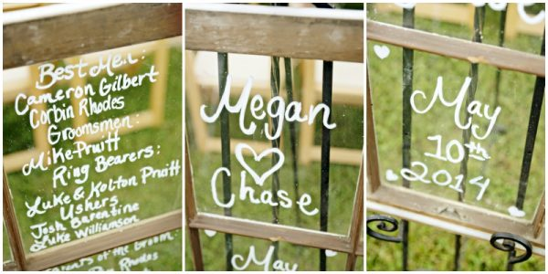 window wedding sign