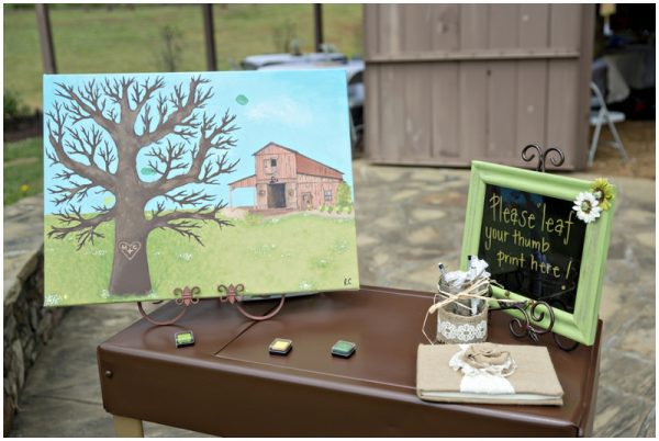 wedding guestbook - thumbprint tree painting guestbook