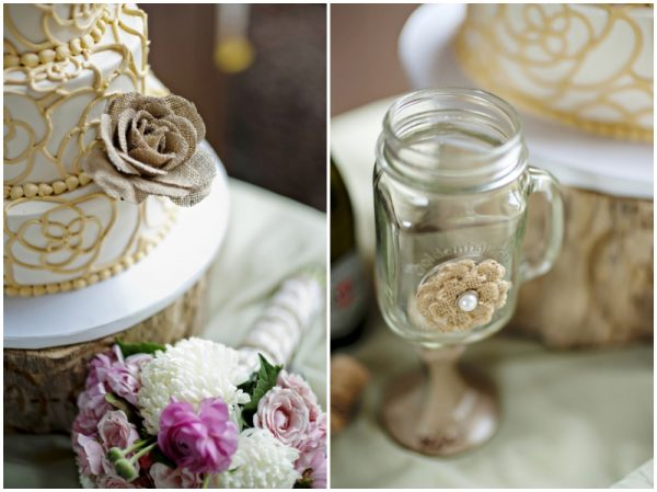 rustic wedding cake and mason jar wine glasses