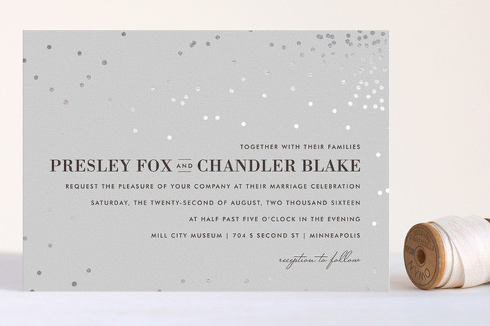 lovely winter wedding invitation with silver foil - Minted foil printed wedding invitation