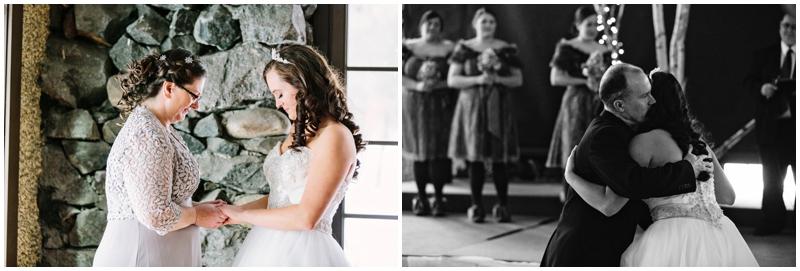 winter wedding bride with parents