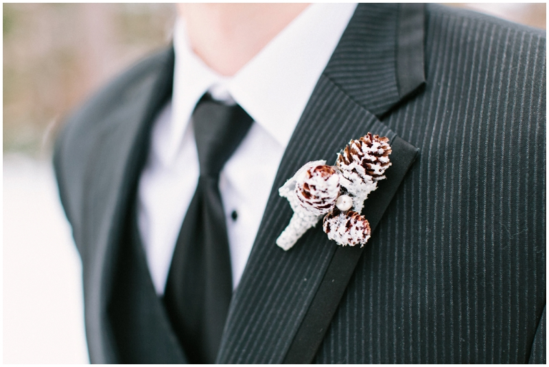 www.james-stokes.com winter wedding boutonniere - pine cone boutonniere