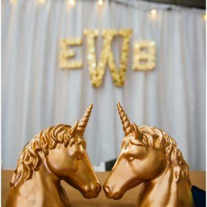 gold glitter unicorns