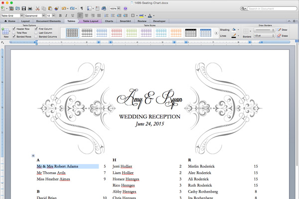 Free Printable Wedding Reception Templates – Seating Chart Template Word