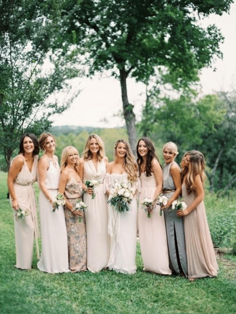 Mismatch Neutral Bridesbaes Gowns, Pinspiration from ProjectWedding.com