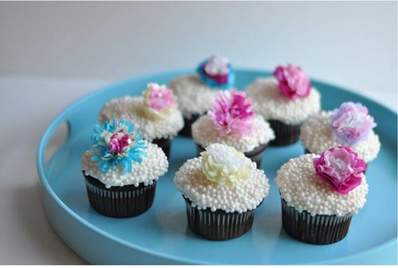 Tissue Paper Flower Cupcake Toppers Tutorial from thisheartofmine