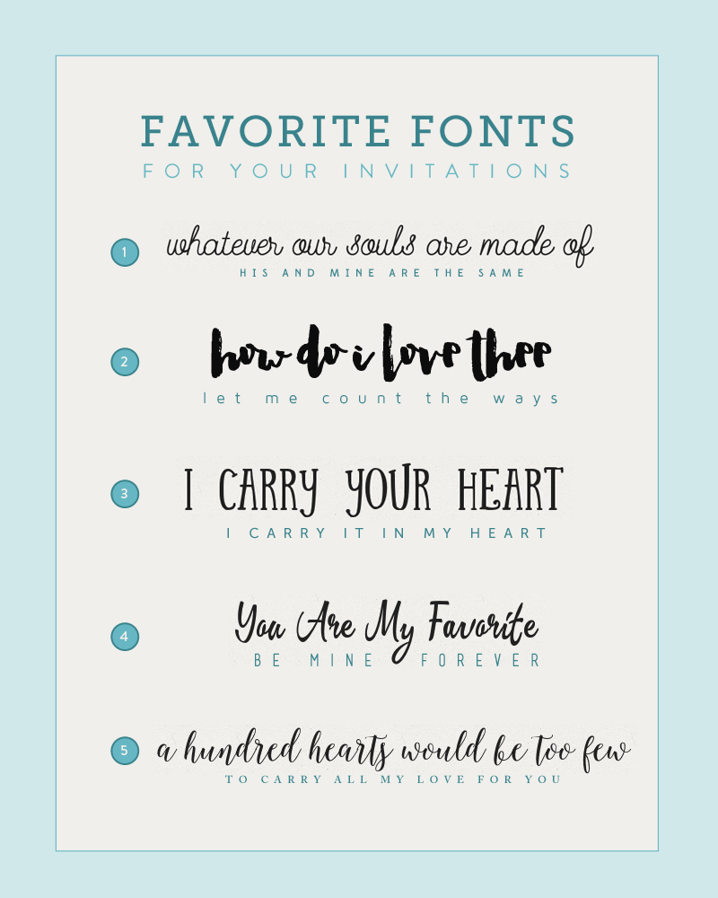 Fonts for DIY Wedding Invitations | The Budget Savvy Bride