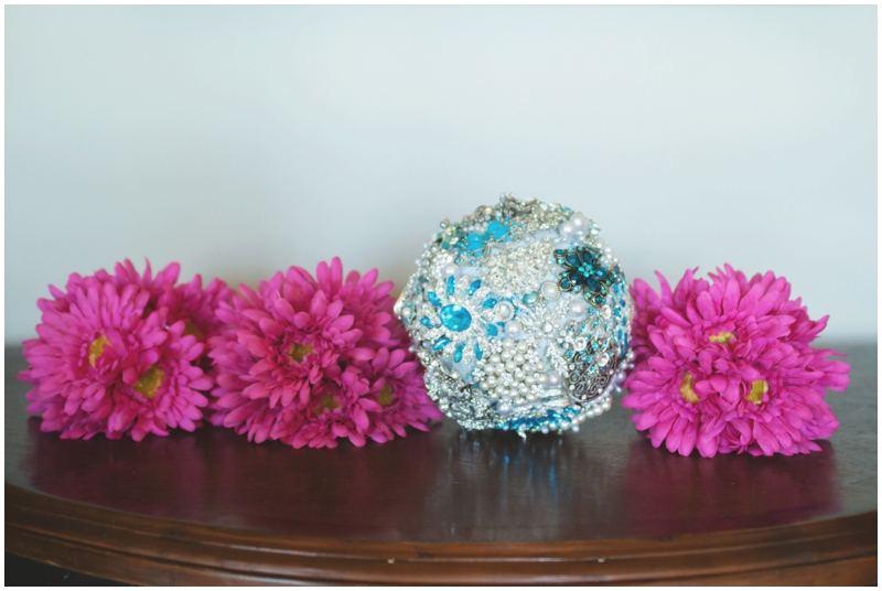 wedding bouquets - hot pink and brooch bouquet