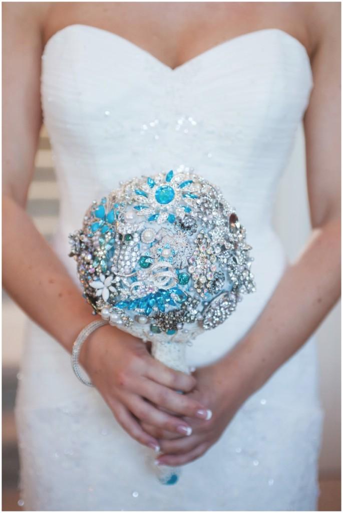 blue wedding brooch bouquet
