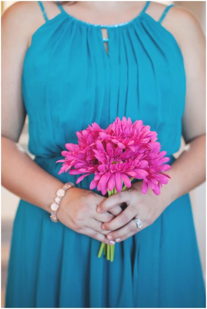 hot pink silk flower bouquet