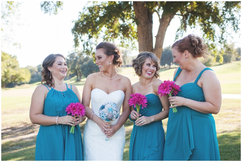 bridesmaids style - bridesmaids in blue with pink bouquets