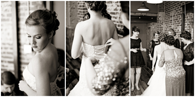 bride getting ready with her mom