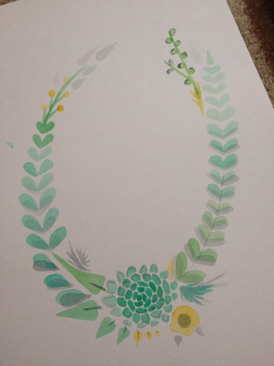 Hand Painted Wedding Wreath