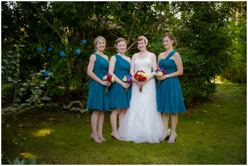 retro inspired teal blue bridesmaids