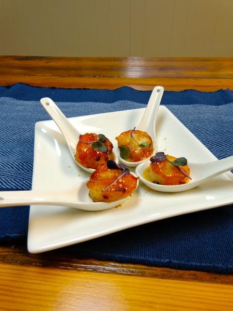 Scallops seared w/ fennel & apricot glaze.