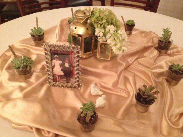 Succulent Wedding Favors- table decor with succulents and portraits