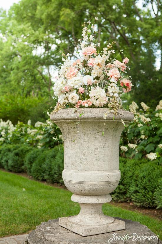 silk floral arrangement for a wedding