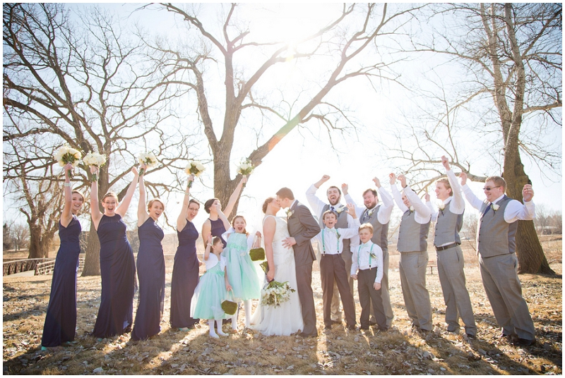 navy and aqua wedding party