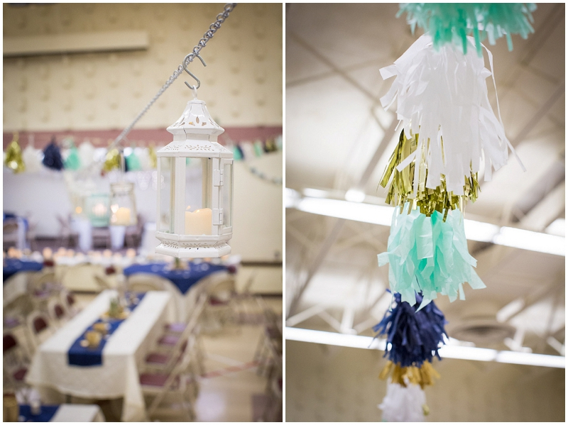 Gold And Aqua Reception Decor