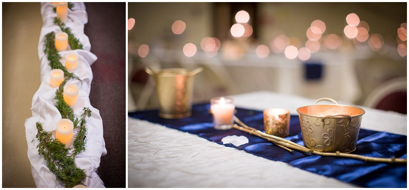 gold and candles reception decor
