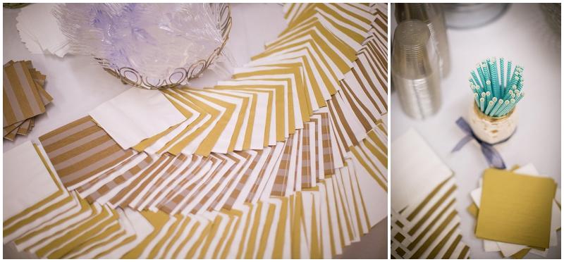 gold and white napkins