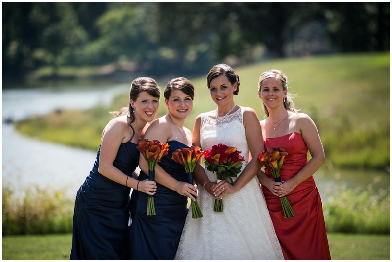 navy & rust bridesmaid dresses - fall wedding fashion