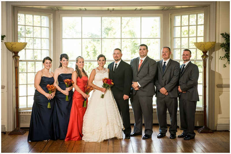gray, navy and rust wedding party