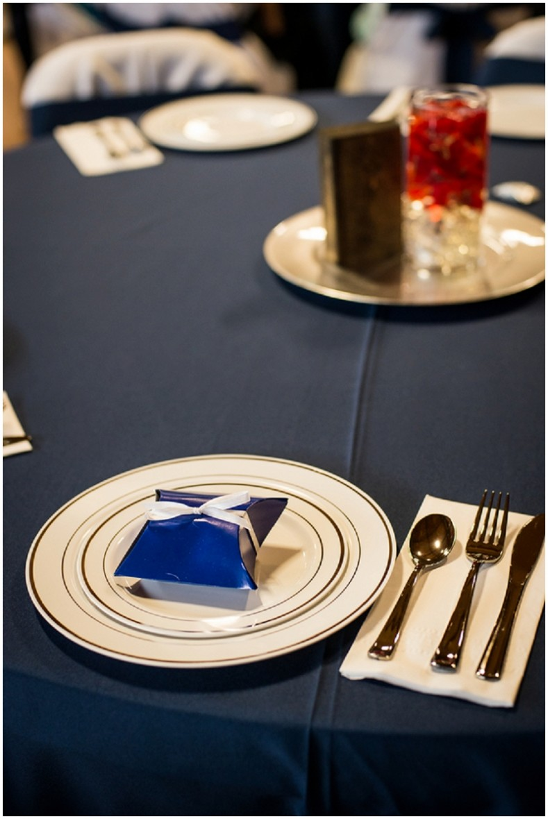 navy and rust table setting