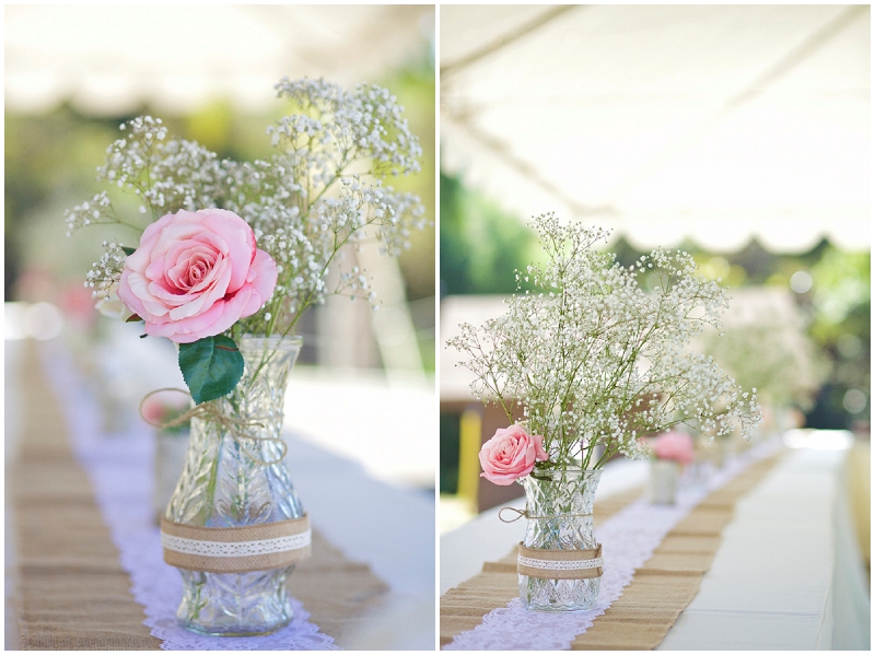 pink reception table decor